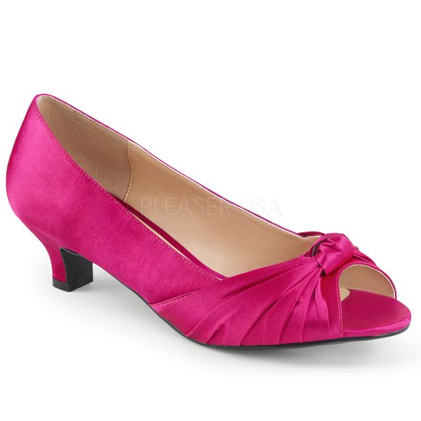 Peep Toe Pumps in hot pink Satin FAB-422